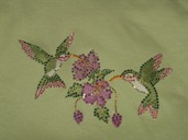 Hummingbirds with embroidery