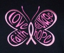 Embroidered Awareness Butterfly Pink