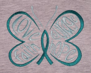 Embroidered Awareness Butterfly Teal